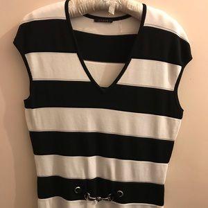 Black & White Stripe Sweater Tank w/Buckle Detail